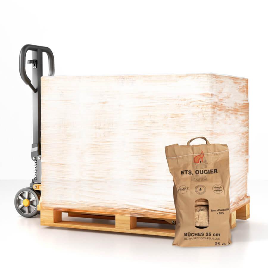 Palette bûches de bois de chauffage 25 cm 25 dm3